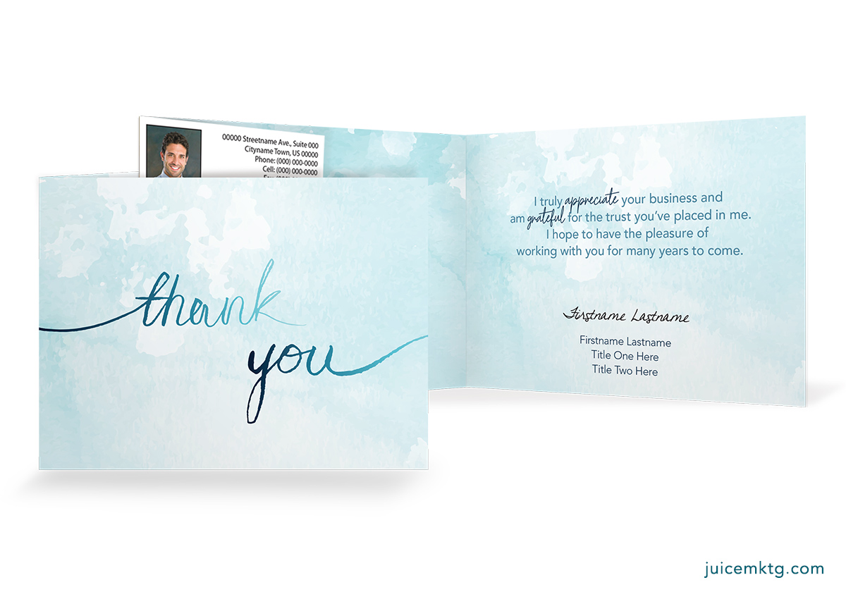 Thank You - Watercolor - Folded Card