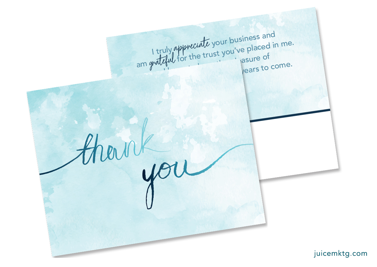 Thank You - Watercolor - Postcard